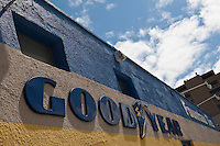 GoodYear logo is pictured on a Fountain Tire store in Winnipeg Tuesday May 24, 2011. The Goodyear Tire & Rubber Company manufactures tires for automobiles, commercial trucks, light trucks, SUVs, race cars, airplanes, and heavy earth-mover machinery.