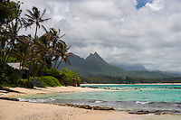 A view of the tropical beaches of Windward O'ahu, with Mt. Olomana in the background.