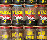 Weasel Coffee - Jars of 'Weasel' coffee at a shop in Hang Buom St, Hanoi Old Quarter, Vietnam