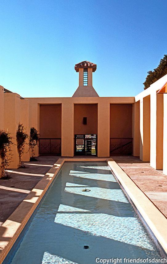 Michael Graves: San Juan Capistrano Library. Pool traversing rear (upper) inner court.  Photo '86.