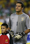 12 September 2007: Brazil's Julio Cesar. The Brazil Men's National Team defeated the Mexico Men's National Team 3-1 at Gillette Stadium in Foxborough, Massachusetts in an international friendly.