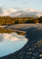 Gillespies beach and lagoon with Aoraki Mount Cook and Mount Tasman of Southern Alps, Westland Tai Poutini National Park, UNESCO World Heritage Area, West Coast, New Zealand, NZ