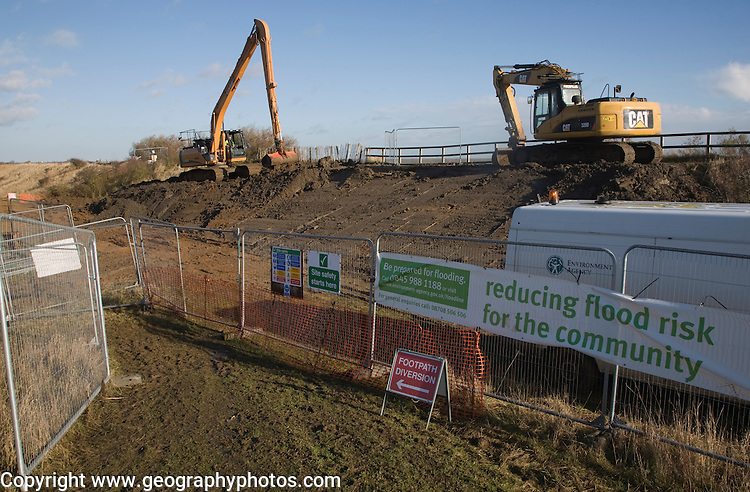 Environment Agency emergency work to repair storm damage at East Lane, Bawdsey, Suffolk, England