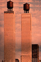 "Utopia:  World Trade Center ""Trade-Offs""--Tank-top Towers.  Michael Langenstein.  Postcard in NEW YORK MAGAZINE, July 21, 1975."
