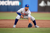St. Lucie Mets third baseman Jhoan Urena (24) during a game against the Dunedin Blue Jays on April 20, 2017 at Florida Auto Exchange Stadium in Dunedin, Florida.  Dunedin defeated St. Lucie 6-4.  (Mike Janes/Four Seam Images)