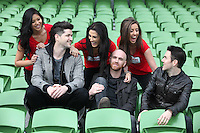"NO REPRO FEE: 1.12.2011: Irish trio The Script pictured at the Aviva Stadium Dublin to mark the release of their first concert DVD ""HOMECOMING: LIVE AT THE AVIVIA STADIUM DUBLIN"" filmed by acclaimed director Dick Carruthers ( Oasis, White Stripes, Paul McCartney.) 98FM's Thunder Trio Jeri Mahon, Mary Scott and Angela Frawley joined band members Danny, Mark and Glen reliving the experience of playing on home turf to a 54,000 strong crowd! The Script were back in Dublin earlier this year on July 2nd  to play the sold-out show, the event that marked the pinnacle of the band's career to date coming just 3 years after their 1st gig at Dublin's Sugar Club in front of 28 people. The DVD is of the entire concert, includes their hits ""The Man Who Can't be Moved"", ""Nothing"" and ""Breakeven."" Pictured (l-r) at the DVD launch was 98FM's Thunder Trio Jeri Mahon, Angela Frawley and Mary Scott  with Script band members Danny O'Donoghue, Glen Power and Mark Sheehan. Picture Collins."