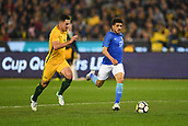 June 13th 2017, Melbourne Cricket Ground, Melbourne, Australia; International Football Friendly; Brazil versus Australia; Taison Freda of Brazil breaks towards goal with the ball