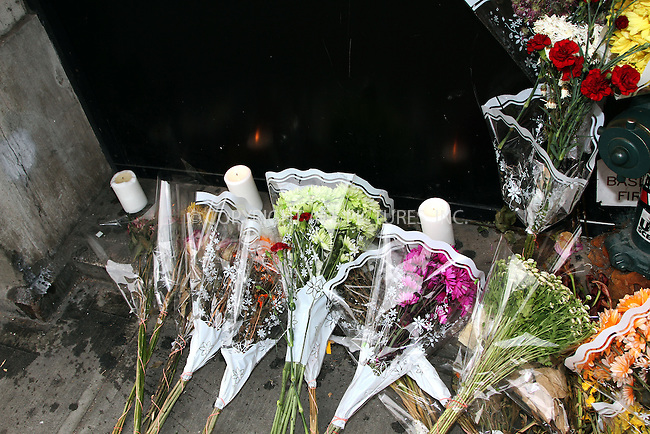 WWW.ACEPIXS.COM<br /> <br /> June 26 2013, New York City<br /> <br /> Flowers and messages of sympathy for the death of actor James Gandolfini left at Acappella restaurant where the pilot episode of 'The Sopranos' was shot on June 26 2013 in New York City<br /> <br /> By Line: Zelig Shaul/ACE Pictures<br /> <br /> <br /> ACE Pictures, Inc.<br /> tel: 646 769 0430<br /> Email: info@acepixs.com<br /> www.acepixs.com