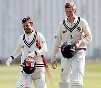 Double centurians Heino Kuhn (L) and Zak Crawley leave the field during the friendly game between Kent CCC and Surrey at the St Lawrence Ground, Canterbury, on Friday Apr 6, 2018