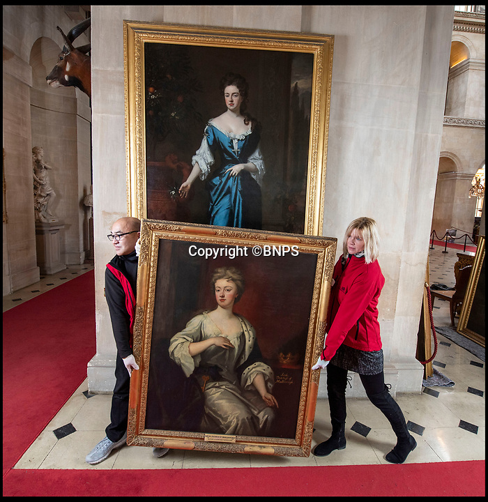BNPS.co.uk (01202 558833)<br /> Pic: PhilYeomans/BNPS<br /> <br /> Queen Anne (wall) and Sarah Chuchill came face to face once more...<br /> <br /> The real-life characters behind Olivia Colman's Oscar-tipped film The Favourite have been reunited as part of Blenheim Palace's annual deep clean.<br /> <br /> The portraits of Queen Anne, played by Colman in the film, and Sarah, the first Duchess  of Marlborough, who was portrayed by Rachel Weisz, have been brought together in Blenheim's Great Hall to allow a team of specialist's to undertake the winter clean.<br /> <br /> The film, a historical comedy/drama, depicts the tumultuous relationship between the pair in the early 18th century.<br /> <br /> The land to build Blenheim was gifted to the first Duke and Duchess by Queen Anne after John Churchill's stunning pan-european alliance defeated Louis XIV of France.<br /> <br /> Despite Anne gifting them the land to build the magnificent Palace she also eventually stripped them of their official roles at Court after falling out with strong minded Duchess.