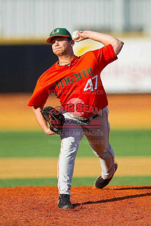 Relief pitcher AJ Salcines #47 of the Miami Hurricanes in action against the Wake Forest Demon Deacons at Gene Hooks Field on March 19, 2011 in Winston-Salem, North Carolina.  Photo by Brian Westerholt / Four Seam Images