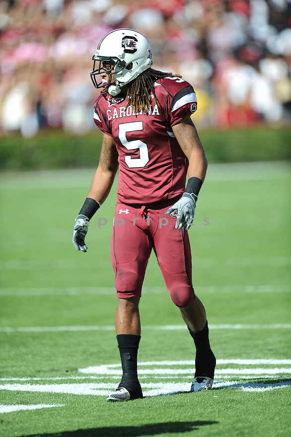 STEPHON GILMORE, of the South Carolina Gamecocks, in action during the Gamecocks game against the Tennessee Volunteers on October 30, 2010 at Williams-Brice Stadium in Columbia, South Carolina.  ..South Carolina beat Tennessee 38-24...