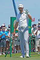 Dustin Johnson (USA) is introduced on the first tee during his final round of the 118th U.S. Open Championship at Shinnecock Hills Golf Club in Southampton, NY, USA. 17th June 2018.<br /> Picture: Golffile | Brian Spurlock<br /> <br /> <br /> All photo usage must carry mandatory copyright credit (&copy; Golffile | Brian Spurlock)