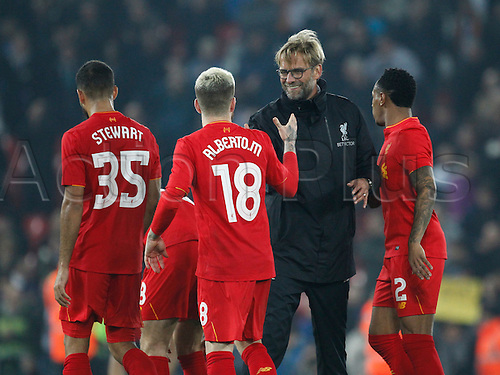 25.10.2016. Anfield, Liverpool, England. EFL Cup. Liverpool versus Tottenham Hotspur. Liverpool manager Jurgen Klopp congratulates Liverpool defender Alberto Moreno after his return to the starting line up tonight.