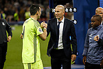 Real Madrid Manager Zinedine Zidane consoles Gianluigi Buffon of Juventus after the UEFA Champions League Final match between Juventus and Real Madrid at the Principality Stadium on June 3rd 2017 in Cardiff, Wales.