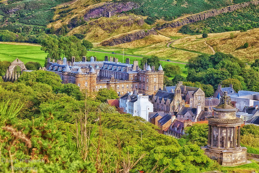 Looking down on the Palace of Holyrood from Calton Hill in Edinburgh.