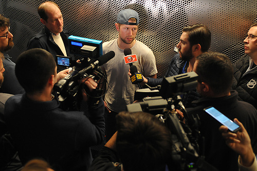 Josh Bailey speaks with the media after New York Islanders player exit interviews at Northwell Health Ice Center in East Meadow on Sunday, April 8, 2018.