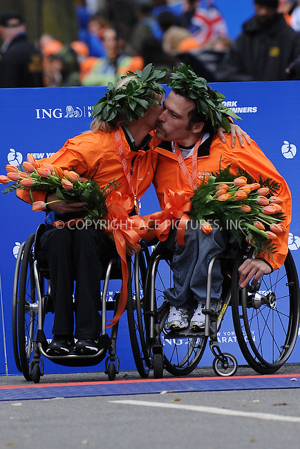 WWW.ACEPIXS.COM . . . . . ....November 1 2009, New York City....Men's and women's wheelchair winners Kurt Fearnley of Australia and Edith Hunkeler of the USA  following the ING New York City Marathon on November 1, 2009 in New York City.....Please byline: KRISTIN CALLAHAN - ACEPIXS.COM.. . . . . . ..Ace Pictures, Inc:  ..(212) 243-8787 or (646) 679 0430..e-mail: picturedesk@acepixs.com..web: http://www.acepixs.com