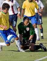 USA goalkeeper Earl Edwards (1) and Brazil's Matheus Carvalho (7). 2007 Nike Friendlies, which are taking place from Dec. 6-9 at IMG Academies in Bradenton, Fla.