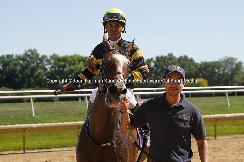 July 5, 2014: Aigue Marine, Kendrick Carmouche up, wins the Grade III Robert G. Dick Memorial Stakes at Delaware Park in Stanton Delaware. She is trained by Christophe Clement and owned by Haras du Mezeray and Skymarc Farm, Inc. ©Joan Fairman Kanes/ESW/CSM