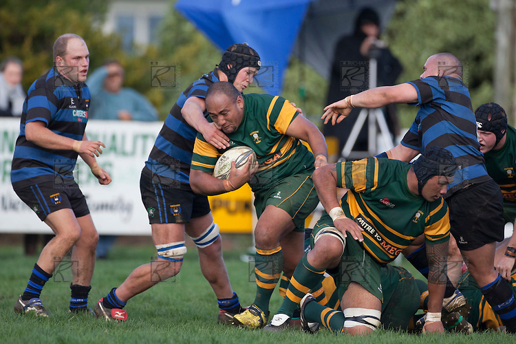 Falakiko Balahame breaks through the middle of a ruck. Counties Manukau Premier Club rugby game between Onewhero and Pukekohe, played at Onewhero on Saturday 7th of May 2011. Pukekohe won 38 - 7.