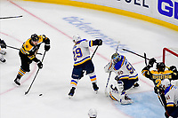 June 6, 2019: Boston Bruins center Noel Acciari (55) plays the puck in front of St. Louis Blues goaltender Jordan Binnington (50) and defenseman Vince Dunn (29) during game 5 of the NHL Stanley Cup Finals between the St Louis Blues and the Boston Bruins held at TD Garden, in Boston, Mass. The Blues defeat the Bruins 2-1 in regulation time. Eric Canha/CSM