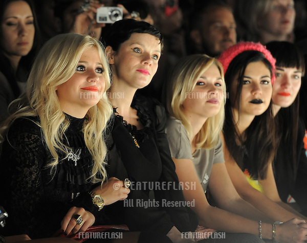 Pixie Lott on the front row of Ashish fashion show, part of London Fashion Week, London. 21/09/2010  Picture by: Simon Burchell / Featureflash