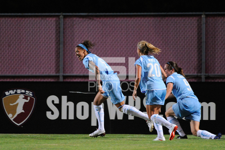 Natasha Kai (6) of Sky Blue FC celebrates scoring the second goal of the game. Sky Blue FC defeated FC Gold Pride 2-0 during a Women's Professional Soccer match at Yurcak Field in Piscataway, NJ, on August 05, 2009.