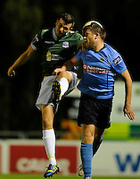 27th October 2014; SSE Airtricity League Promotion Playoff, Leg 1, UCD v Galway FC, UCD Bowl, Belfield, Dublin. Galway FC&rsquo;s Marc Ludden and Chris Mulhall of UCD.<br />  Picture credit: Tommy Grealy/actionshots.ie.