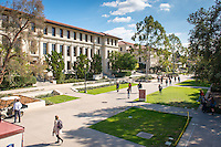 Occidental College campus, looking towards Johnson Hall and the main walkway from Branca Patio of the Johnson Student Center (JSC), Jan. 20, 2016. <br /> (Photo by Marc Campos, Occidental College Photographer)