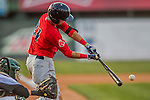 4 September 2016: Lowell Spinners infielder C.J. Chatham connects for an RBI single in the 7th inning against the Vermont Lake Monsters at Centennial Field in Burlington, Vermont. The Spinners defeated the Lake Monsters 8-3 in NY Penn League action. Mandatory Credit: Ed Wolfstein Photo *** RAW (NEF) Image File Available ***
