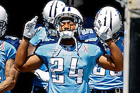 Sept 11, 2011:   Tennessee Titans defensive back Chris Hope (24) prepares to enter the field before the start of the game between the Jacksonville Jaguars and the Tennessee Titans at EverBank Field in Jacksonville, Florida. Jacksonville defeated Tennessee 16-14.........