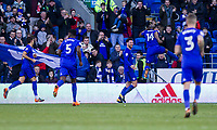 Sean Morrison of Cardiff City celebrates scoring his side's first goal with Sol Bamba during the Sky Bet Championship match between Cardiff City and Middlesbrough at the Cardiff City Stadium, Cardiff, Wales on 17 February 2018. Photo by Mark Hawkins / PRiME Media Images.
