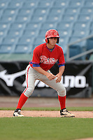 Dante Ricciardi (4) of Worcester Academy in West Boylston, Massachusetts playing for the Philadelphia Phillies scout team during the East Coast Pro Showcase on July 30, 2014 at NBT Bank Stadium in Syracuse, New York.  (Mike Janes/Four Seam Images)