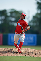 Philadelphia Phillies pitcher Israel Puello (60) delivers a pitch during a Florida Instructional League game against the Baltimore Orioles on October 4, 2018 at Ed Smith Stadium in Sarasota, Florida.  (Mike Janes/Four Seam Images)