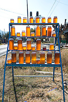 Honey sold on the roadside. Drive by series from San Jose de los Laureles Tlayacapan, to Mexico City.