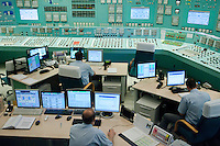 Employees work in the operation center of the Paks nuclear power plant building in Paks, 120 km (75 miles) east of Budapest, Hungary on March 23, 2011. ATTILA VOLGYI