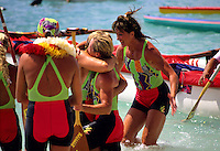 Outrigger canoe racing; Women's Molokai to Oahu Race, finish at Fort de Russey beach, Waikiki, Oahu, Hawaii.Makahiki, October 1989