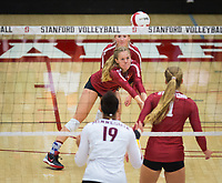 STANFORD, CA - September 9, 2018: Meghan McClure, Kate Formico at Maples Pavilion. The Stanford Cardinal defeated #1 ranked Minnesota 3-1 in the Big Ten / PAC-12 Challenge.