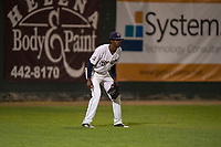 Helena Brewers left fielder Je'Von Ward (8) during a Pioneer League game against the Orem Owlz at Kindrick Legion Field on August 21, 2018 in Helena, Montana. The Orem Owlz defeated the Helena Brewers by a score of 6-0. (Zachary Lucy/Four Seam Images)