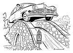 (A big American car driven by a woman drives over a narrow stone English humpback bridge).