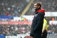 Liverpool manager Jurgen Klopp smiles on the touchline during the Barclays Premier League match between Swansea City and Liverpool played at the Liberty Stadium, Swansea on 1st May 2016