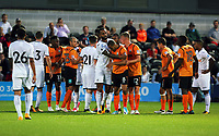 Pictured: A fight breaks out between Matrin Olsson of Swansea City and Curtis Weston of Barnet Wednesday 12 July 2017<br /> Re: Pre-season friendly, Barnet v Swansea City FC at The Hive, London, UK