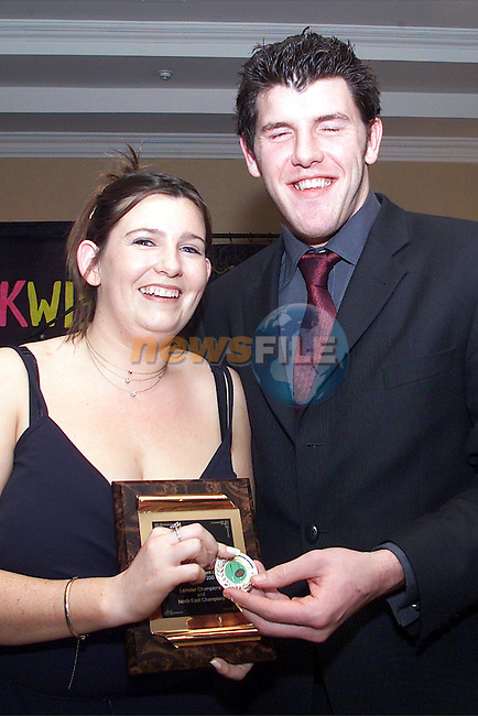Seamus Horgan presents Sandra McAleer, Boyne ladies team captain, with her trophy at the Boyne rugby dinner dance in the Bridgeford..pic:Arthur Carron/ Newsfile