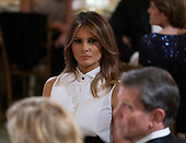 First lady Melania Trump attends the 2019 Governors' Ball in the State Dining Room at the White House in Washington, DC on Sunday, February 24, 2019.<br /> Credit: Chris Kleponis / Pool via CNP