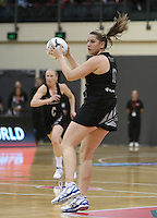 24.10.2013 Silver Fern Te Huinga Reo Selby-Rickit in action during the Silver Ferns V Malawi New World Netball Series played at the TSB Bank Arena in Wellington. Mandatory Photo Credit ©Michael Bradley.