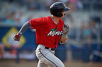Fort Myers Miracle Michael Helman (8) runs to first base during a Florida State League game against the Charlotte Stone Crabs on April 6, 2019 at Charlotte Sports Park in Port Charlotte, Florida.  Fort Myers defeated Charlotte 7-4.  (Mike Janes/Four Seam Images)