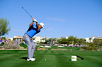 Jon Rahm (ESP) on the 4th tee during the 2nd round of the Waste Management Phoenix Open, TPC Scottsdale, Scottsdale, Arisona, USA. 01/02/2019.<br /> Picture Fran Caffrey / Golffile.ie<br /> <br /> All photo usage must carry mandatory copyright credit (© Golffile | Fran Caffrey)