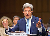 """United States Secretary of State John Kerry testifies during the U.S. Senate Foreign Relations Committee hearing on """"Authorization of Use of Force in Syria"""" on Capitol Hill in Washington, D.C. on Tuesday, September 3, 2013.<br /> Credit: Ron Sachs / CNP"""