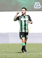 Calcio, Serie A: Reggio Emilia, Mapei stadium, 17 settembre 2017.<br /> Sassuolo's Matteo Politano celebrates after scoring during the Italian Serie A football match between Sassuolo and Juventus at Reggio Emilia's Mapei stadium, September 17, 2017.<br /> UPDATE IMAGES PRESS/Isabella Bonotto